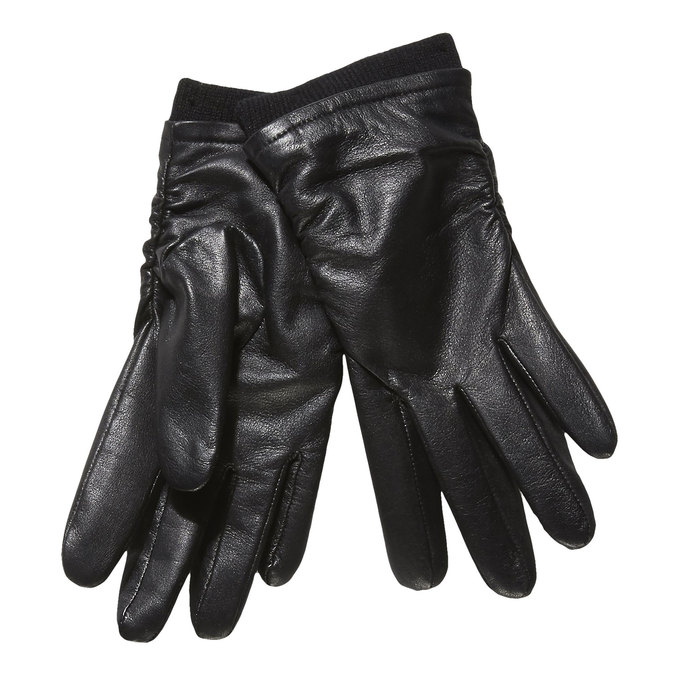 Ladies' leather gloves bata, black , 904-6107 - 13