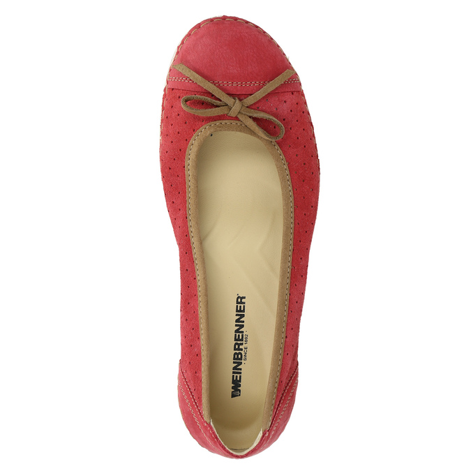 Casual leather ballerinas weinbrenner, red , 526-5503 - 19