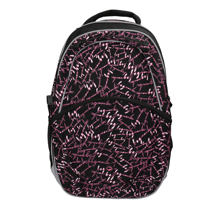 School backpack with a printed pattern bagmaster, black , 969-6602 - 19