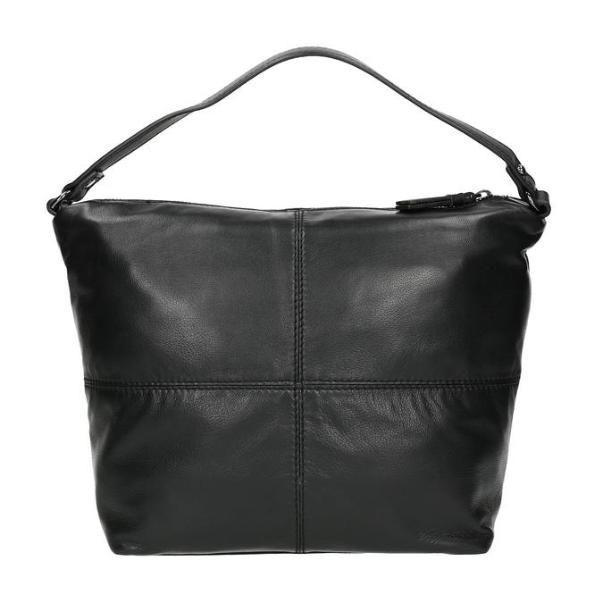 Leather handbag with a detachable strap, black , 964-6233 - 19