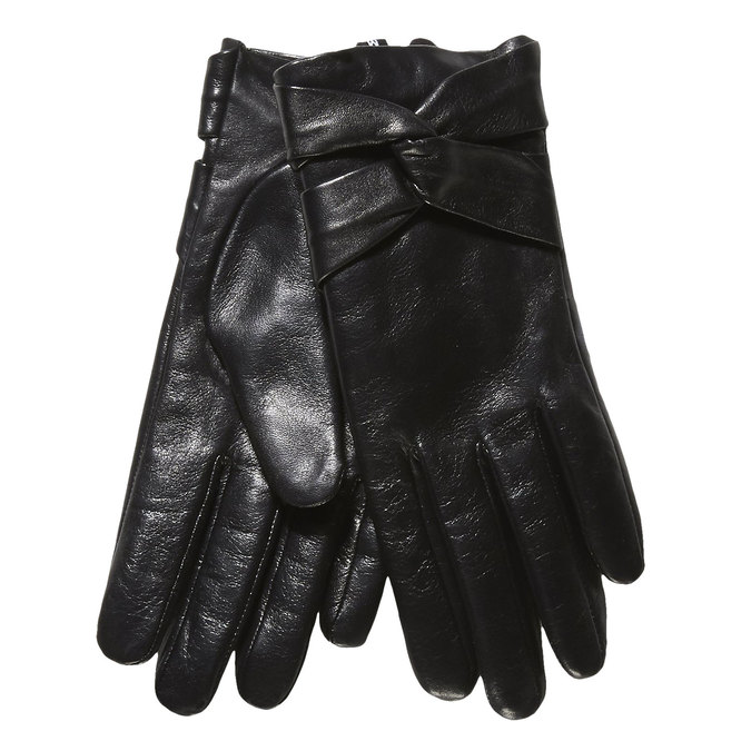 Ladies' leather gloves bata, black , 904-6109 - 13
