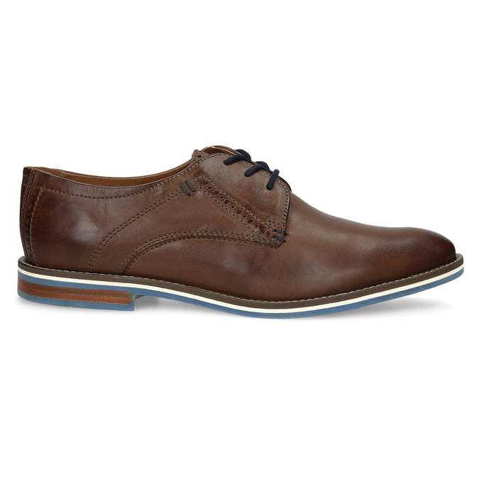 Brown leather shoes with striped sole bata, brown , 826-4790 - 19