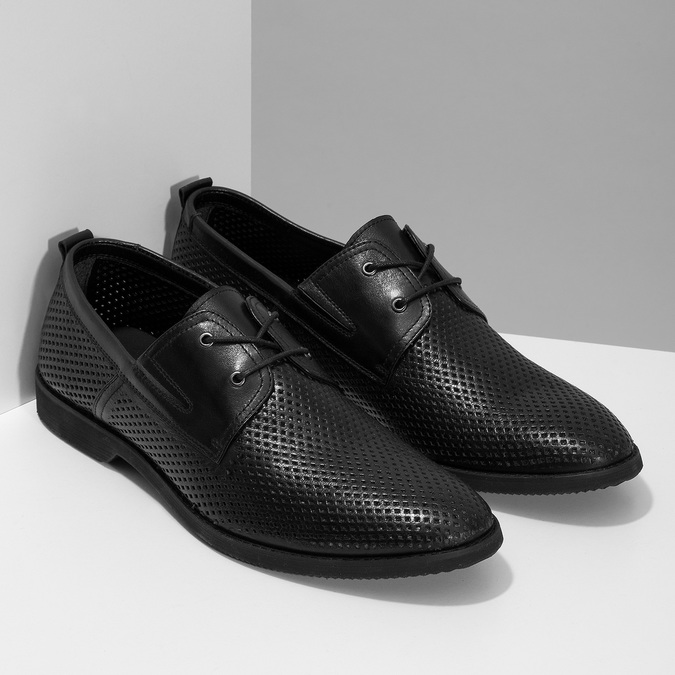 Leather shoes with perforations, black , 854-6601 - 26