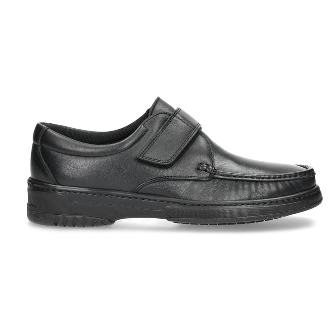 Men's leather shoes with Velcro, black , 824-6543 - 19