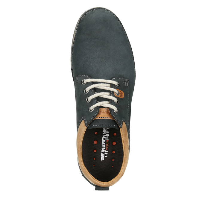 Casual leather shoes, blue , 846-9654 - 15