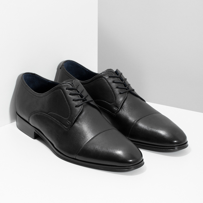 Men's leather Derby shoes, black , 824-6406 - 26