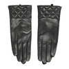 Ladies' black leather gloves, black , 904-6131 - 26