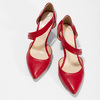 Leather pumps with T-strap, red , 724-5904 - 16